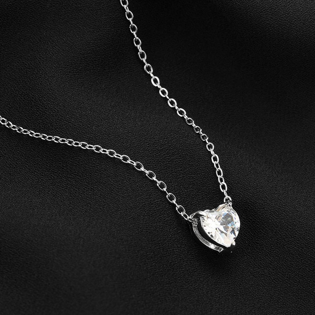 Women Hasp 42 Transparent Rhinestone Casual Link Shining Fashion 16 1 Heart Pendant 54 Chain Necklace 5cm 97inch