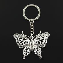 Keychain Jewelry Key-Ring Butterfly 60x48mm-Pendant Fashion Metal 30mm Plated Bronze