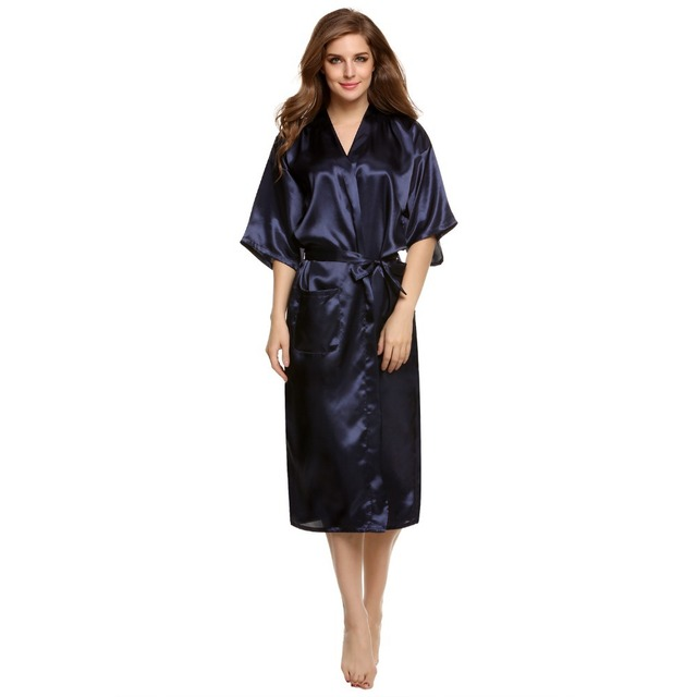 New Arrival Navy blue Chinese Women's Silk Satin Robe Kimono Bath Gown Nightgown Pijama Mujer Plus Size S M L XL XXL XXXL TB01M