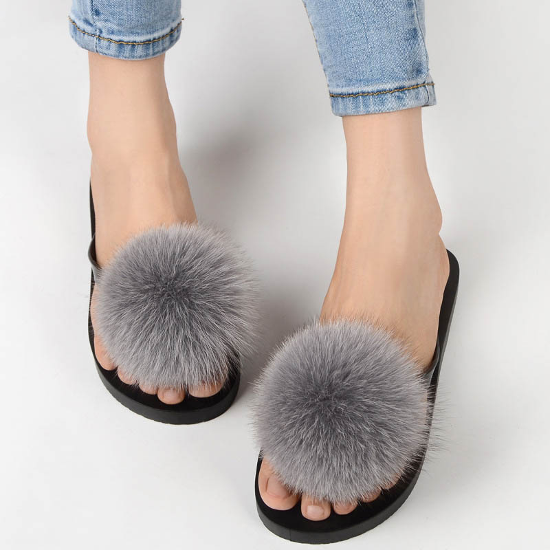 women slippers fox fur pompom (19)