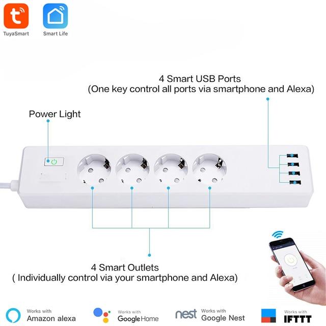 חכם WiFi כוח רצועת Tuya חכם App בקרת סוג-F 4 חנויות 4 USB יציאות בנפרד בקרת Alexa Google בית תואם