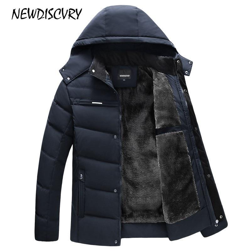 NEWDISCVRY Men's Hooded Parka Winter Man Jacket Waterproof 2018 Thick Fleece Warm Men Coat Casual Overcoat Male Clothes Outwear