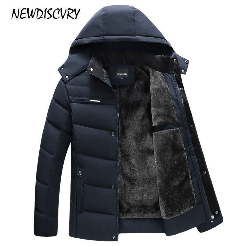 NEWDISCVRY Men's Hooded   Parka   Winter Man Jacket Waterproof 2018 Thick Fleece Warm Men Coat Casual Overcoat Male Clothes Outwear