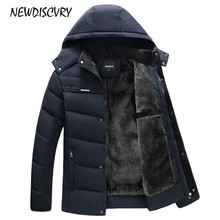 NEWDISCVRY Men's Hooded Parka Winter Man Jacket Waterproof 2018 Thick Fleece War