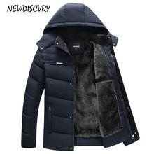 Nuevodiscvry hombres con capucha Parka invierno hombre chaqueta impermeable 2018 lana gruesa hombres capa ocasional abrigo masculino ropa Outwear