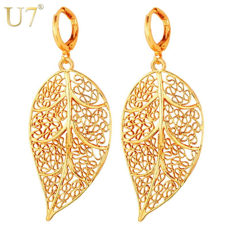U7 Big Vintage Leaf Earrings Women Jewelry Gift Silver/Gold Color Dropshipping Hollow Brincos Bohemian Long Drop Earrings E707