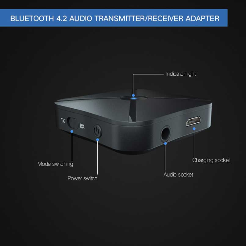 Kebidu 2 In 1 Bluetooth 4.2 Receiver And Transmitter Bluetooth Wireless Adapter Audio With 3.5mm Aux Audio For Home Tv Mp3 Pc Funkadapter