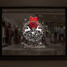 Christmas Wall Sticker Wreath Shape Decoration Removable Snowflake Reindeer Xmas Store Window Stickers Home Decor enfeites natal(China)