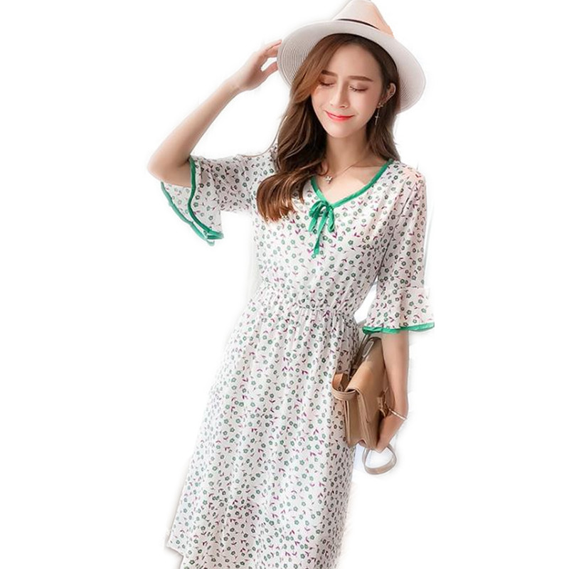 2018 Top Wome Chiffon Sweet Print Floral Dress Knee-Length V-Neck Female Fashion Flare Short Sleeve Dress Women Lace-Up Q169