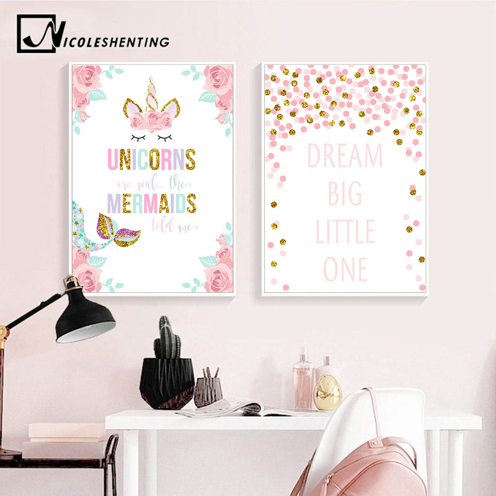 Us 2 91 48 Off Unicorn Flower Canvas Poster Wall Art Nursery Quotes Print Painting Nordic Kids Decoration Picture Baby Bedroom Decor In