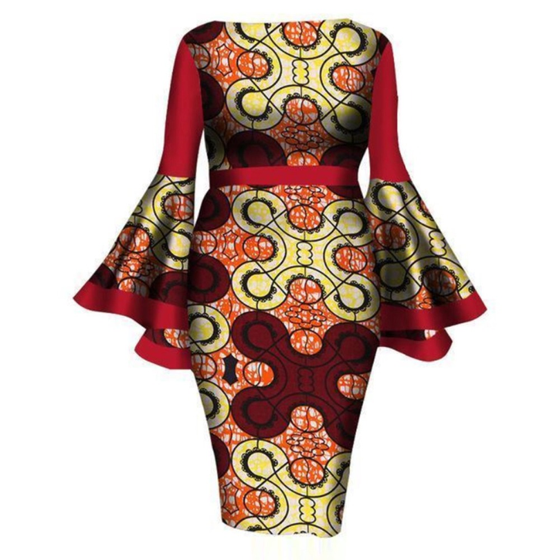 Size:L~6XL 2019 fashion positioning printing dresses ,Elegant long sleeves african traditional print dresses for lady/women