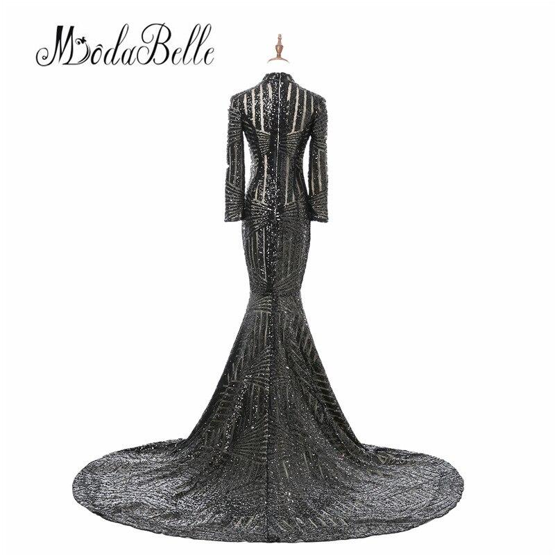 Luxe zwarte vrouwen avondjurken 2017 vestido noite lange mouwen hoge - Jurken voor bijzondere gelegenheden - Foto 2
