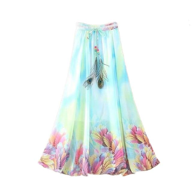 93bcd3e271 2018 Fashion Women Maxi Skirts Casual Elegant Saia Longa Chiffon Bohemian  Vintage Summer Female Long Skirt Flower Ethnic Clothes