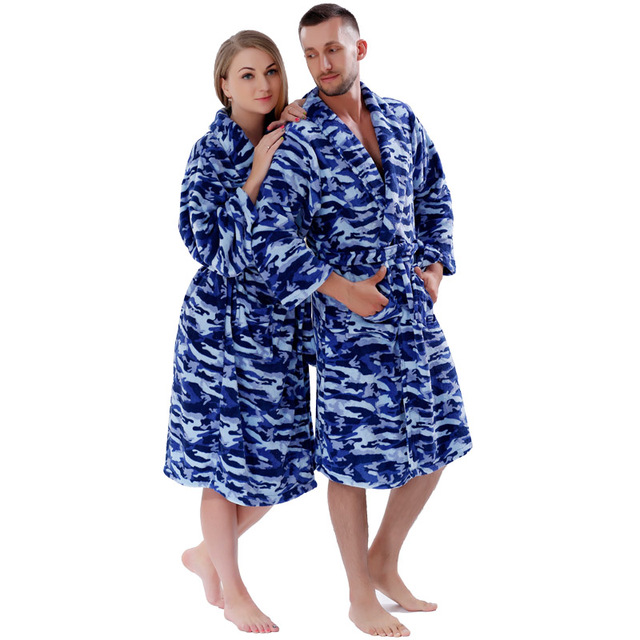 Men Women Warm Winter Coral Fleece Robe Blue Camouflage Plus Size Night  Gown Sleepwear Bathrobe For e263a5a73