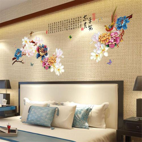 1pcs flower peony vinyl oriental wall art stickers / wall decals