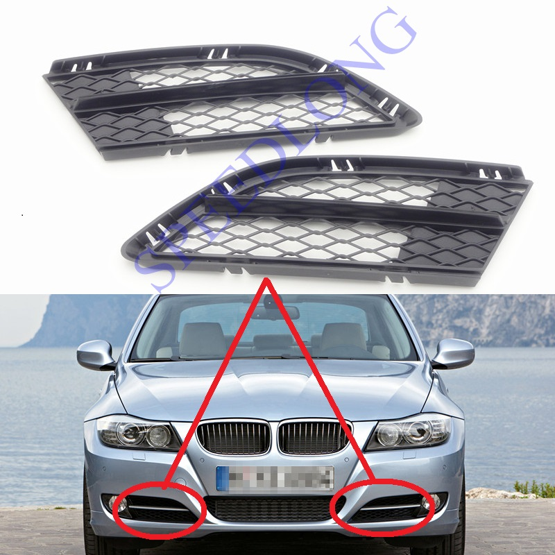2 Pcs/Pair RH and LH Front Bumper Lower Mesh Grille Grill Cover Trim for BMW 3 Series E90 New Model 2008-2011