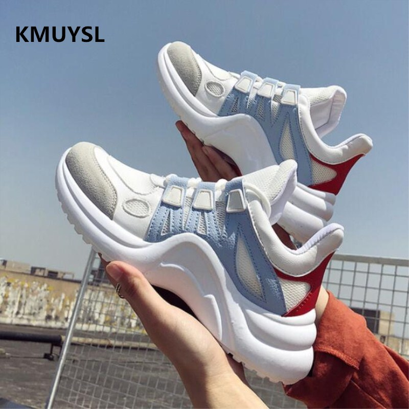 Luxury brand 2018 New Fashion Women Casual Shoes Trends Female White Flats platform Lace Up Women Sneakers цены онлайн