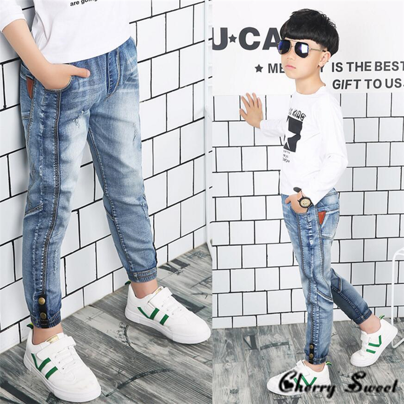 Analytisch 2019 Lente Kinderkleding Denim Stiksels, Persoonlijkheid Jongens Jeans, Voor Grote Kinderen Jongens Jeans Lange Broek 3 5 7 8 10 12 14 Y