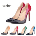 2016 Fashion Gradient Pumps Women High Heels Patent Leather Sexy Party Wedding Shoes Size 35-42
