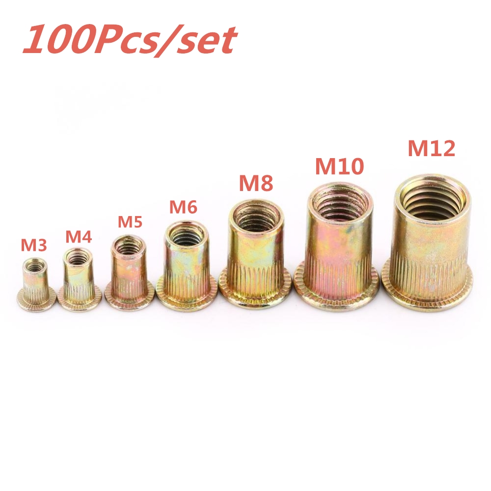100Pcs/set M3 M4 M5 M6 M8 M10 M12 Rivet Nuts Stainless Steel Rivnuts Blindnuts Nutserts Nuts Insert Rivet Multi Size