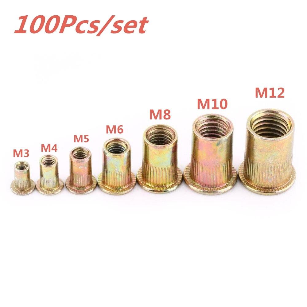 100Pcs/set M3 M4 M5 M6 M8 M10 M12 Rivet Nuts Stainless Steel Rivnuts Blindnuts Nutserts Nuts Insert Rivet Multi Size