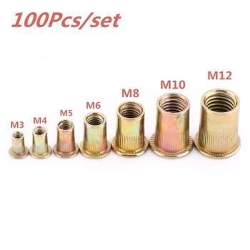 Купить со скидкой 100Pcs/set M3 M4 M5 M6 M8 M10 M12 Rivet Nuts Stainless Steel Rivnuts Blindnuts Nutserts Nuts Insert