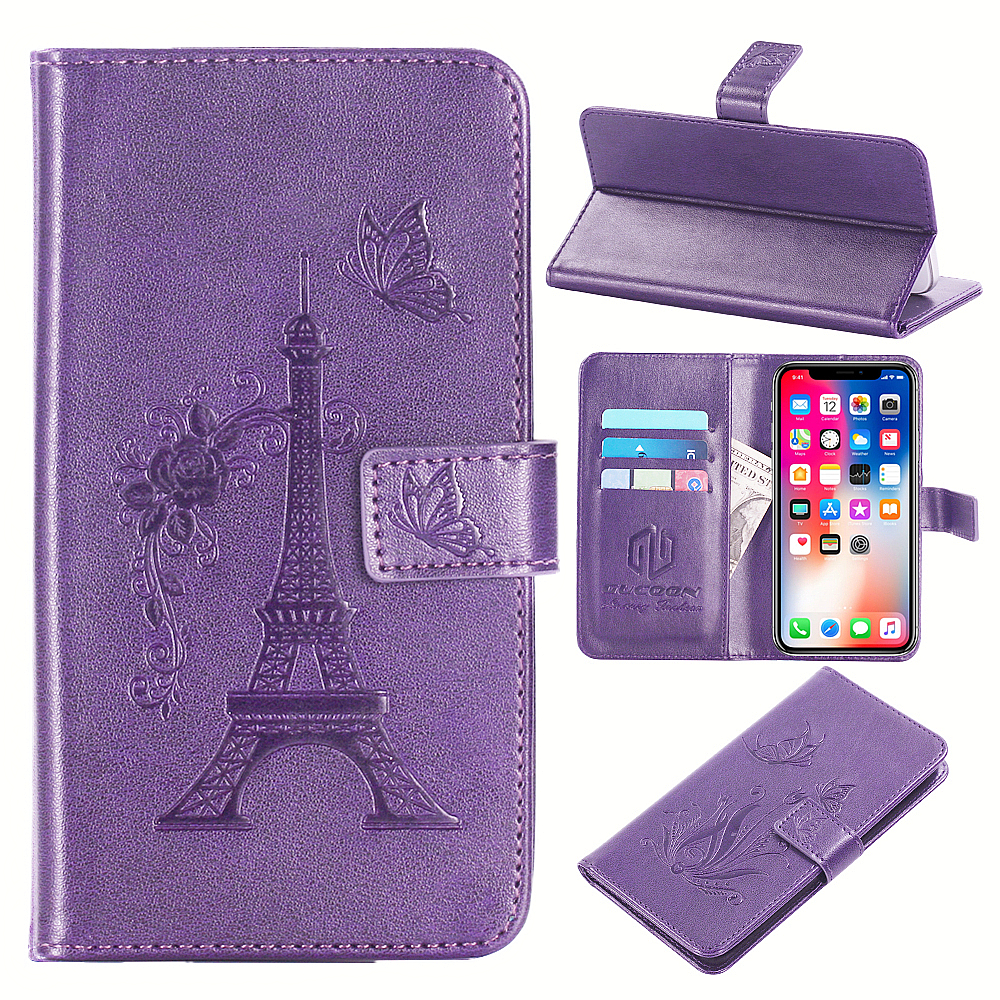 GUCOON Embossed PU Leather Case for Philips Xenium V387 5.0inch Eiffel Tower Flowers Butterfly Flip Wallet Cover image