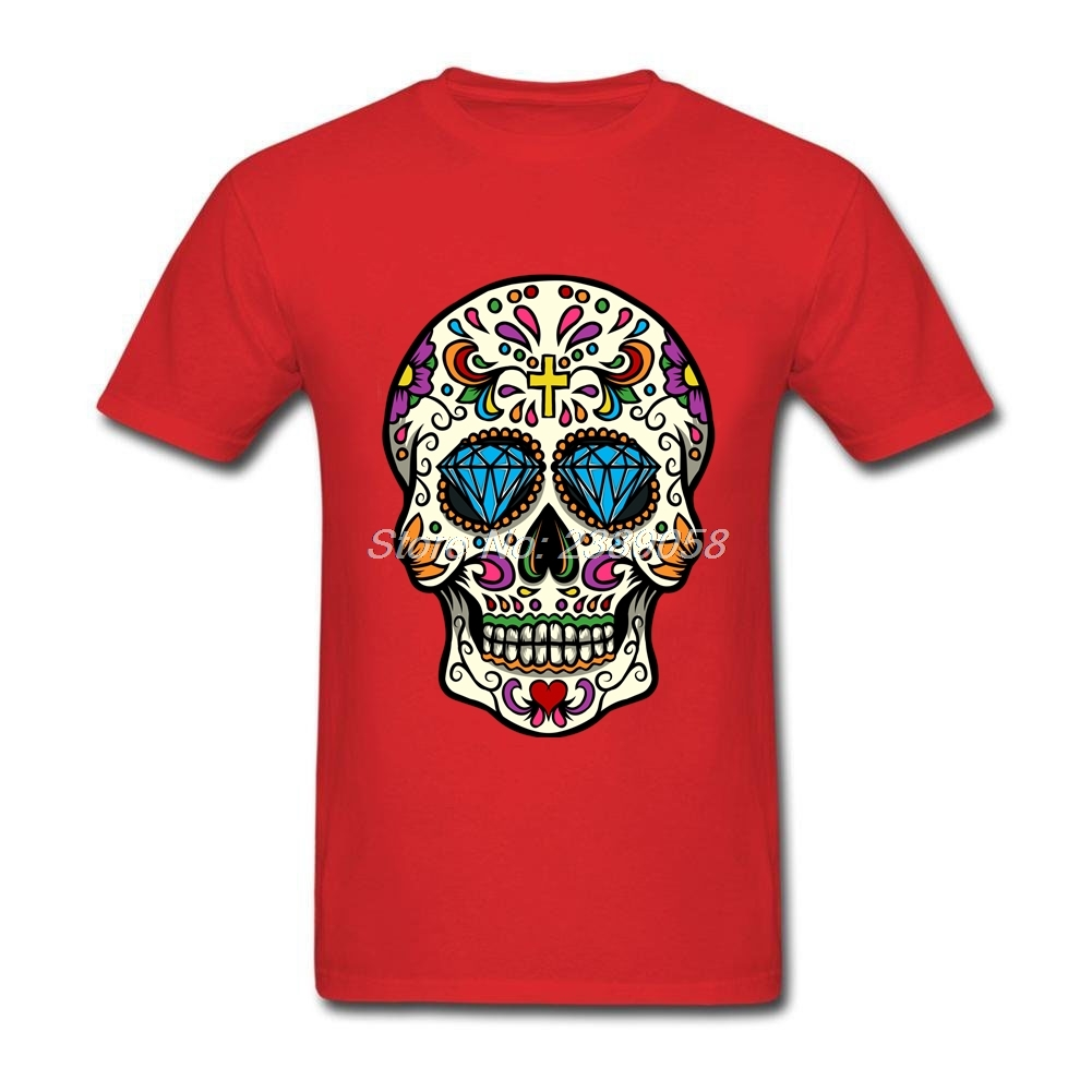 Mexican Sugar Skulls in Gold Mens Longsleeve Tee