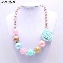 MSH.SUN-collar de cuentas gruesas de color caramelo para niña, joyería de resina con flores, collar de chicle para niña, vestido de fiesta BN178
