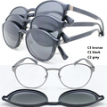 wholesale 9912 TR90 metal square optical glasses frame with megnatic clip on removable polarized sunglasses lens