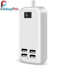 CinkeyPro EU Plug 4 Ports Multiple Wall USB Charger 15W 3A Smart Adapter Mobile Phone Charging Data Device For iPhone iPad