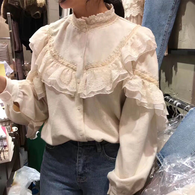 6a77eb60ff047 Spring Suit Women s Lace Ruffles Patchwork Fairy Chiffon Lace Shirts Mori  Girl Solid Color Loose Kimono Blouse Femme Tunic Tops