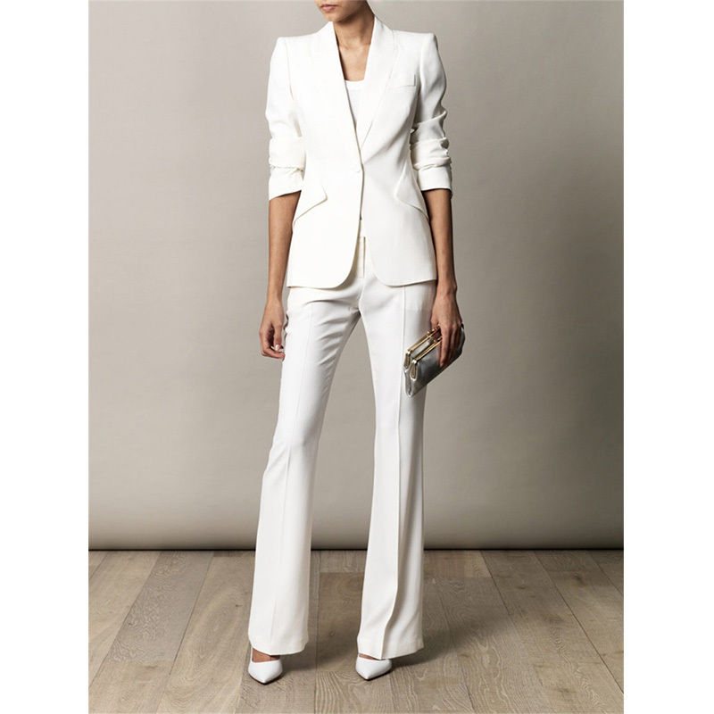 White Slim Fit Female Suits Office Uniform Slant Pockets Women Evening Pant Suits Lady Trouser Suit B141