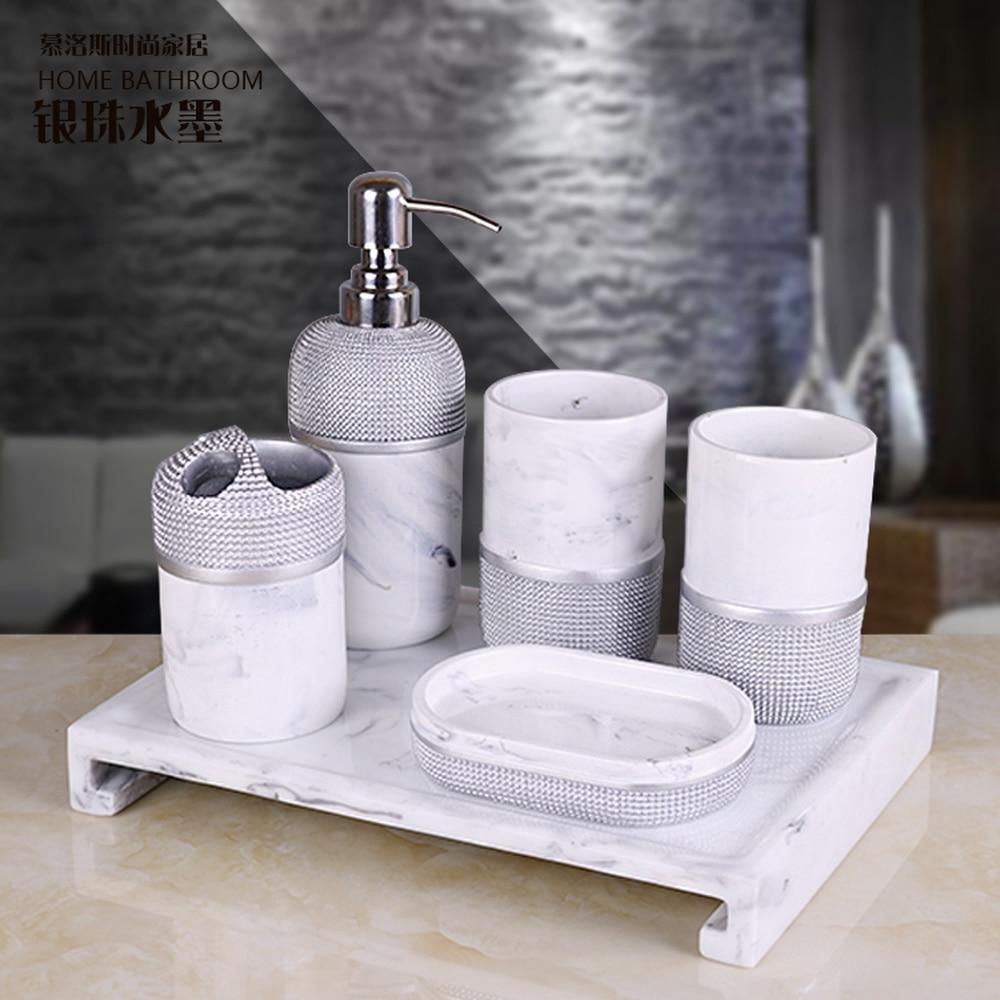 Modern minimalist bathroom five-piece creative Nordic bathroom toiletries kit Brushing cup mug cup set LO725410 mediterranean ceramic bathroom five piece creative european bathroom supplies bathroom mug cup wash cup set lo727231