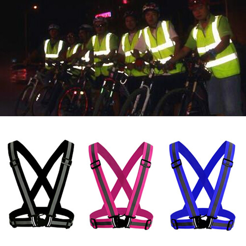 Bicycle Accessories Dhl 200pcs Unisex Outdoor Cycling Safety Vest Bike Ribbon Bicycle Light Reflecing Elastic Harness For Night Riding Running Bicycle Light