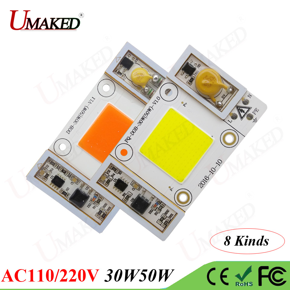 High Power LED Chip 30W 50W AC110/220V COB ball Warm/Natural/White/Cool/Full Spectrum/Blue driverless led bulb Lamp Lights 1w led bulbs high power 1w led lamp pure white warm white 110 120lm 30mil taiwan genesis chip free shipping
