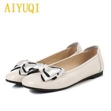 AIYUQI Women casual shoes 2019 new genuine leather women flat shoes, bow fashion big size 41 42 43 professional