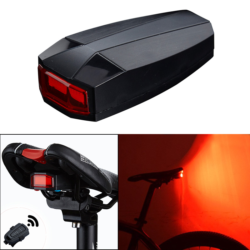 4 In 1 Bicycle Smart Wireless Rear Light Cycling Remote Control Alarm Lock Mountain Bike Bell COB Tailight MC889