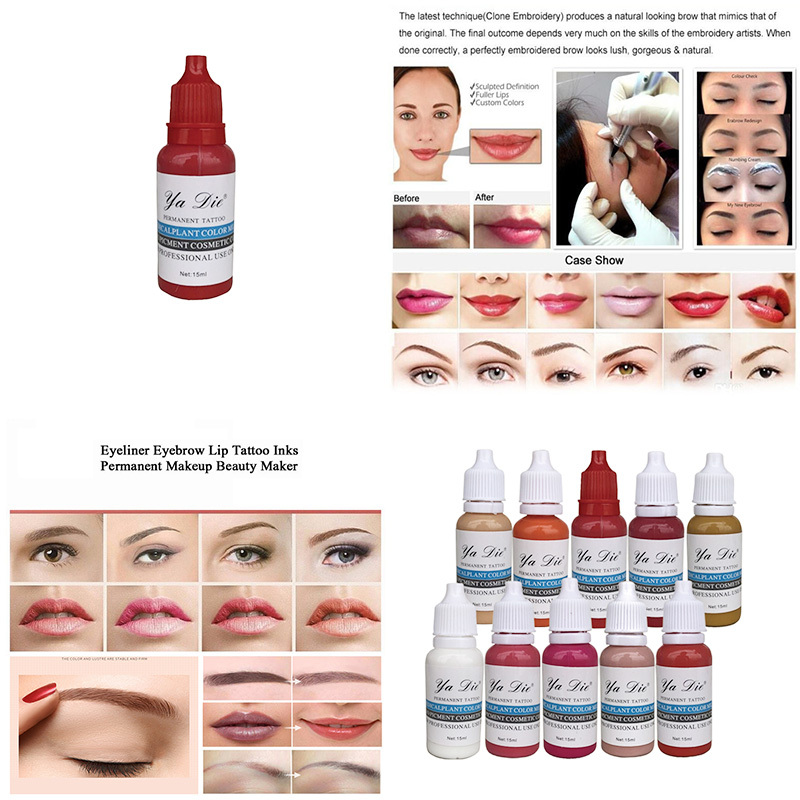 10 Bottle 18g Tattoo Microblading Pigment Professional Eyebrow Micro Tattoo Ink Set Lips Makeup Tattoo Pigment 17 18g to252