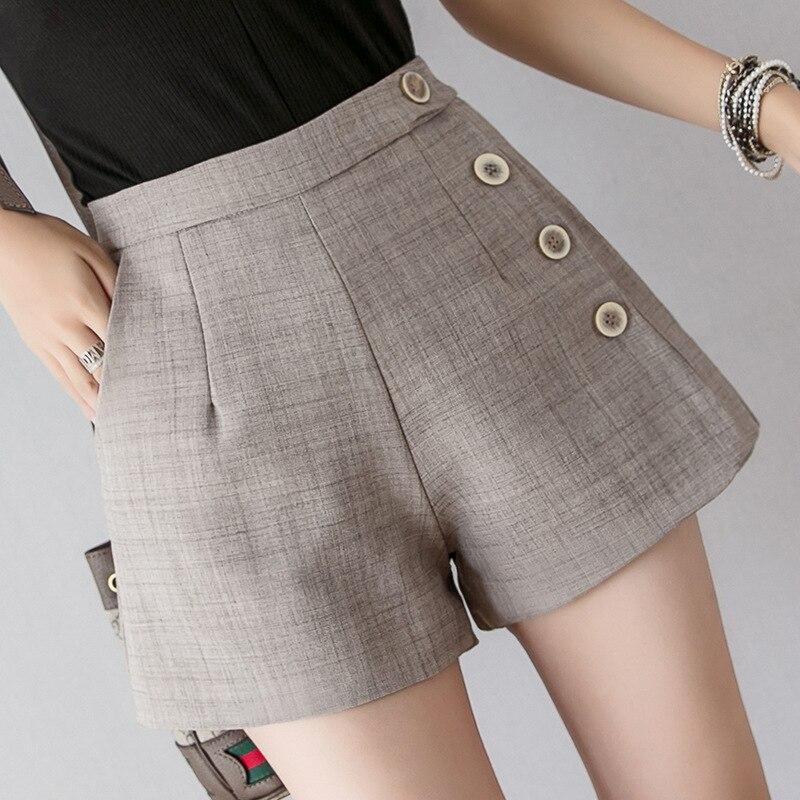 Summer New Shorts Womens High Waist Loose A-Line Wide-Leg Shorts Button Design Back Zipper Casual Female Chic Office Wear Shorts