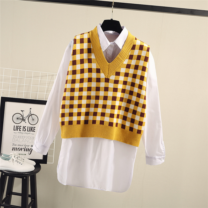 Sweater Vest Women Argyle Pullover V-neck Natural Warm High Quality Stock Clearance Sale Free Shipping