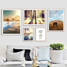 Nordic Style Forest Sunset Scenery Posters Ocean Beach Wall Art Canvas Painting Landscape For Living Room Picture Decor Unframed