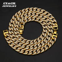 CY&CM Thick Miami Cuban Link Chain Gold Silver Rhinestone Iced Out Hip Hop Bling 13mm 30 Iced Out Hip Hop Chain 8 Bracelet Set
