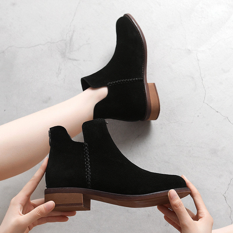 2019 Ankle Boots Suede Top Quality Zipper Autumn Winter Fashion Lady Cow Shoes Handmade