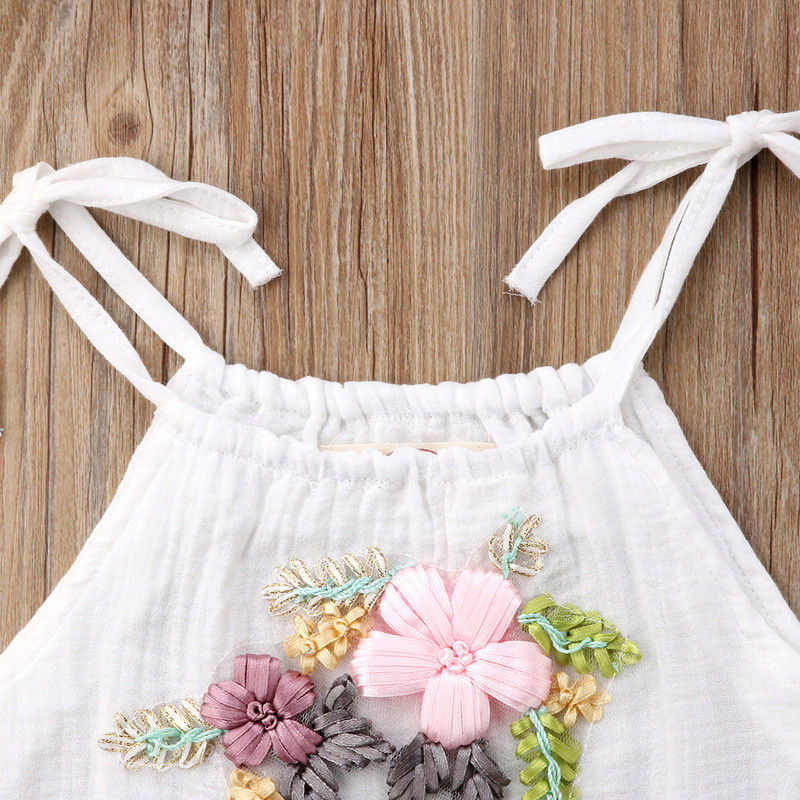 Pudcoco Newborn Toddler Baby Girls Flowers Strap Sleeveless White Romper Clothes Outfit 0-24 Months Helen115