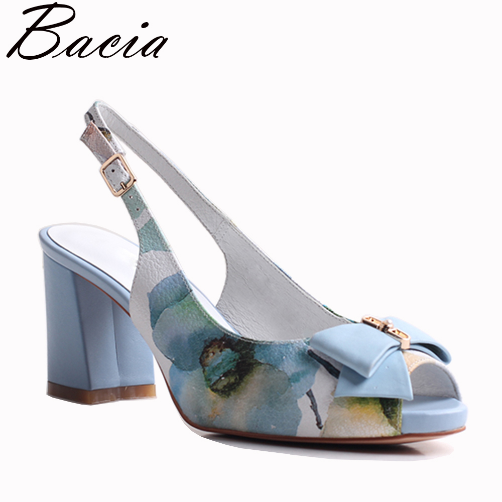Bacia Cow Leather Sandals 2018 New High Thick Heels Pumps Genuine Leather Spring Summer Buctterfly-knot Women Shoes 35-41 VXB034 xiuteng new summer thick high heels sandals genuine leather women shoes flower personality leisure women handmade sandals sapato