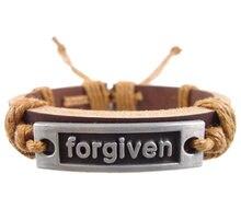 Moda artesanal tecido letras perdoados charme handmade cinto genuína cinto de couro wrap Braceletsjewelry do vintage dos homens das mulheres