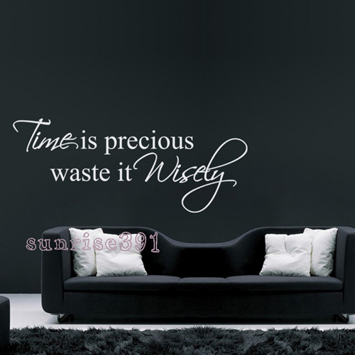 106d (large white) time is precious waste is wisely wall stickers