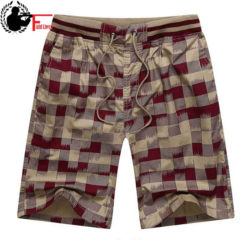 Bermuda Male Hot 2019 Summer Elastic Waist Mens Plaid Shorts Classic Design Breeches Cotton Casual Beach Short Pants Big Size 44