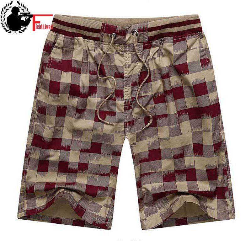 Bermuda Male Hot 2021 Summer Elastic Waist Mens Plaid Shorts Classic Design Breeches Cotton Casual Beach Short Pants Big Size 44